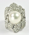 Big Cocktail Rings 1.55 Ct Real Certified Diamond 4.50 Ct Pearl Solid Gold Special Occasion