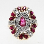Big Cocktail Rings 0.72 Ct Real Certified Diamond 0.80 Ct Ruby Solid Gold Festive