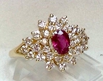 Cocktail Rings 1.01 Ct Natural Certified Diamond 1.00 Ct Ruby Solid Gold Special Occasion