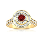 Gold Cocktail Rings 2.00 Ct Natural Round Shape Certified Diamond Ruby Weekend