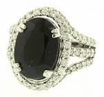 Cocktail Rings Online 1.50 Ct Real Certified Diamond Black Stone Solid Gold Party