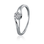 White Gold Diamond Rings 0.15 Ct Natural Certified Diamond Designer Vacation
