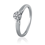 White Gold Diamond Engagement Rings 0.21 Ct Natural Certified Diamond Weekend