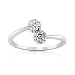 Ladies White Gold Rings 0.20 Ct Natural Certified Diamond  Party