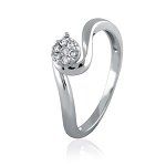 Diamond White Gold Ring 0.18 Ct Natural Certified Diamond Workwear