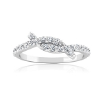 Ladies White Gold Rings 0.50 Ct Natural Certified Diamond Designer Office Wear