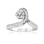 Diamond White Gold Ring 0.65 Ct Natural Certified Diamond Designer Special Occasion