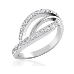 Diamond And White Gold Rings 0.52 Ct Natural Certified Diamond Designer Festive