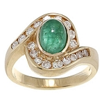 Emerald Gemstone Ring 0.75 Ct Certified Diamond (1.25 Ct Emerald) Solid Yellow Gold Workwear
