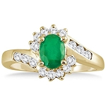 Emerald Rings For Women 0.75 Ct Certified Diamond (1.20 Ct Gemstone) Solid Yellow Gold Vacation