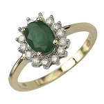 Emerald Engagement Rings 0.55 Ct Real Certified Diamond (1.25 Ct Gemstone) Solid Yellow Gold Everyday