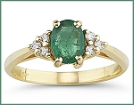 Emerald Diamond Ring 0.30 Ct Real Certified Diamond (1.00 Ct) Gemstone Solid Yellow Gold Office Wear