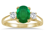 Emerald And Diamond Ring 0.32 Ct Real Certified Diamond (1.00 Ct Gemstone) Solid Yellow Gold Special Occasion