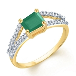 Gemstone Rings Online 0.64 Ct Natural Certified Diamond (1.25 Ct Emerald) 18K Yellow Gold Festive