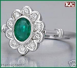 Emerald Gold Ring 0.50 Ct Natural Certified Diamond Round Shape (0.80 Ct Gemstone) Party