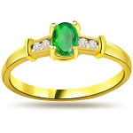 Green Emerald Ring 0.50 Ct Natural Certified Diamond Solid Gold Workwear