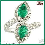 Natural Gemstone Rings 0.80 Ct Natural Certified Diamond (1.50 Ct Emerald) Solid Gold Vacation