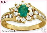 Emerald Gemstone Ring 0.85 Ct Natural Certified Diamond (0.80 Ct Gemstone) Solid Gold Office Wear