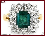Emerald Rings For Women 1.25 Ct Natural Certified Diamond Solid Gold Special Occasion