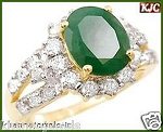 Green Emerald Ring 0.90 Ct Natural Certified Diamond (1.50 Ct Gemstone) Solid Gold Festive