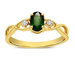 Emerald Gemstone Ring 0.20Ct Real Certified Diamond Solid Gold Workwear