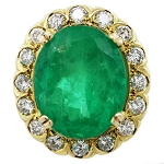 Emerald Rings For Women 0.75Ct Real Certified Diamond (3.25 Ct Green Onyx) Solid Gold Vacation