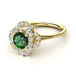 Emerald And Diamond Ring 0.62Ct Natural Certified Diamond Solid Gold Everyday