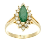 Emerald And Diamond Ring 0.55 Ct Real Certified Diamond (0.85 Ct Gemstone) Solid Gold Festive