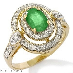 Emerald And Diamond Ring 0.75 Ct Real Certified Diamond (1.18 Ct Gemstone) Solid Gold Weekend