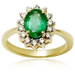 Emerald Diamond Ring 0.28 Ct Real Certified Diamond Solid Gold Party