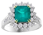 Emerald Diamond Ring 1.32 Ct Real Certified Diamond Gemstone Solid Gold Workwear