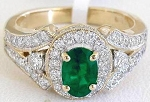 Emerald Ring 1.00 Ct Real Certified Diamond Solid Gold Vacation