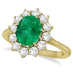 Gemstone Ring Design 0.60 Ct-Si2 Real Certified Diamond (1.02 Ct Emerald) Solid Gold Everyday