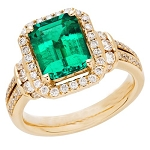 Emerald Diamond Ring 1.00 Ct Natural Certified Diamond Solid Gold Office Wear