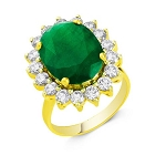 Emerald Ring 0.42 Ct Certified Diamond (1.00 Ct Gemstone) Solid Gold Special Occasion