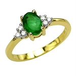 Gemstone Rings Online 0.32 Ct Certified Diamond (0.75 Ct Emerald) Solid Gold Festive