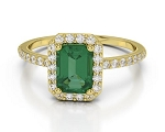 Emerald Gold Ring 0.68 Ct Round Shape Certified Diamond Weekend
