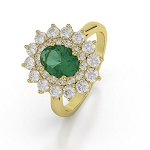 Emerald Diamond Ring 1.02 Ct Certified Diamond Solid Gold Workwear