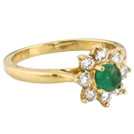 Emerald Gold Ring 0.20 Ct Certified Diamond (0.70 Ct Gemstone) Everyday