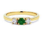 Natural Gemstone Rings 0.20 Ct Natural Certified Diamond Emerald Solid Gold Office Wear