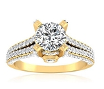 Engagement Ring Designs 2.50 Ct Cen 1.00 Ct Real Certified Diamond Solid Gold