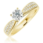 Unique Engagement Rings 1.00 Ct Cen 0.60 Ct Real Certified Diamond Solid Gold