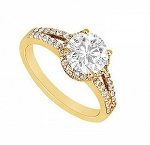 Engagement Rings For Women 1.75 Ct Cen 1.00 Ct Certified Diamond Solid Gold