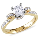 Engagement Rings Gold 1.12 Ct Cen 0.52 Ct Natural Certified Rouns Shape Diamond