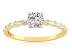 Unique Engagement Rings 1.00 Ct Cen 0.60 Ct Certified Diamond Solid Gold