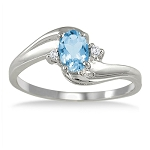 Gemstone Ring Design 0.15 Ct Natural Certified Diamond (0.70 Ct Blue Topaz)Solid Gold Festive
