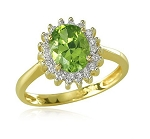 Peridot Rings 0.52 Ct Natural Certified Diamond (1.00 Ct Peridot)Solid Gold Weekend