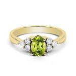 Gemstone Engagement Rings 0.30 Ct Natural Certified Diamond (0.65 Ct Peridot)Solid Gold Party