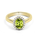 Natural Gemstone Rings 0.50 Ct Natural Certified Diamond (0.77 Ct Peridot)Solid Gold Workwear