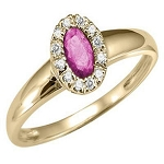 Gemstone Rings 0.25 Ct Natural Certified Diamond (0.50 Ct Pink Tourmaline) Solid Gold Special Occasion